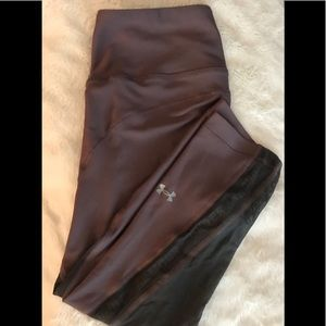 Women's S Under Armour Shiny 3/4 Leggings